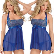 Plus Size Women Sexy Lingerie Halter Backless Lace Chemise Babydoll Set S-4XL
