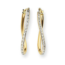 Ladies 14k Yellow Gold Diamond Oval Twist Hoop Diamond Fascination Earrings