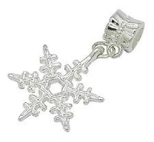 European Style Dangle Charm Bead- silver snowflake   Free Bracelet Offer!