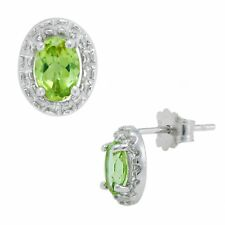 Natural 1.0ct Oval Peridot .925 Silver Stud Earrings