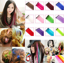 Multi color hair extensions ebay women multi color long straight synthetic clip in on hair extensions piece new pmusecretfo Images