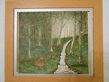 Peinture à l'huile de Woodlands avec un ruisseau et DEER Paysage David Willis TV DEMO