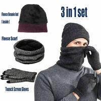 Damen Herren Beanie Cap Tube Schal Halswärmer Handschuhe Winter Strickmütze Set