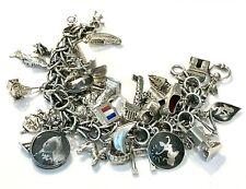 Vintage Loaded Sterling Silver World Travel 38 Charm Bracelet Queen Victoria