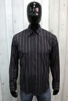 HUGO BOSS Uomo Taglia M Camicia Nero a Righe Chemise Shirt Cotone Manica Lunga