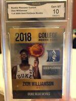 ZION WILLIAMSON ROOKIE CARD DUKE CARD GRADED 10 GEM MINT ONLY 2K MADE RARE