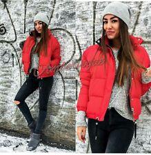 Zara Nueva Chaqueta Acolchada Puffer anorak rojo cremalleras de plata de tamaño XL 14