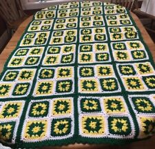 Afghan Handmade Granny Square Green Yellow White Green Bay Packers John Deere