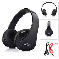 Foldable Wireless Bluetooth Stereo Headset Handsfree Headphones Mic Black