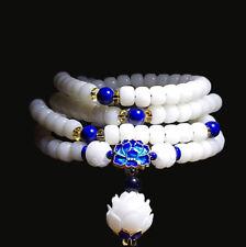 Pure White Bodhi Buddhist Bracelet Meditation Prayer Bead Mala Bodhi Necklace