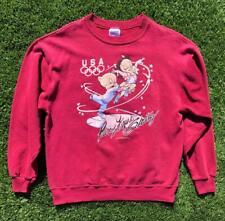 VTG 90s Looney Tunes USA Olympic Figure Skating Porky Petunia Pig Sweat Shirt L