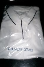 NEW! LANDS END WOMENS OPEN NECK COLLAR POLO SHIRT WHITE MEDIUM