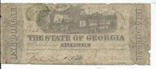 $1 1863 CSA Bank Note State of Georgia Milledgeville #18723 train w/ Green Seal