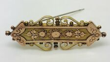 Antique 1888 9ct yellow gold 47 mm Long brooch 3.35 Grams 131 Years Old Boxed