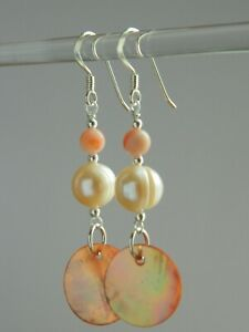 Peachy Pink MoP Shell Discs, Freshwater Pearls, Coral & Sterling Silver Earrings
