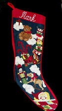 """Vintage Needlepoint """"Mark"""" Personalized  Christmas Stocking, Red Flannel Backing"""