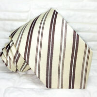 Crema e marron Cravatta righe ,Nuova, qualità TOP ,100% seta,  Made in Italy