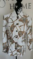St. John By Marie Gray Rare Animal Chain Link Print Lightweight Blazer Jacket