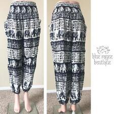 Pocketed Rayon Tribal Elephant Harem Black Palazzo Gypsy Hippie Bohemian Pants