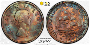 1955 SOUTH AFRICA 1 PENNY PCGS MS63RB COLOR TONED ONLY 1 GRADED HIGHER