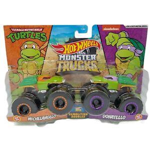 Hot Wheels Monster Trucks Teenage Mutant Ninja Turtles Michelangelo vs Donatello