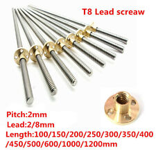 T8 Pitch Lead 2 8mm Rod Stainless Lead Screw Linear Rail Bar 100mm 1200mm