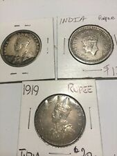 Lot of 3 India 1916 1919 and 1943 Rupee Coins