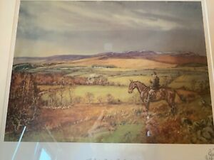 "Hunting Scene ""The Vantage Point"" Signed Print by John King"