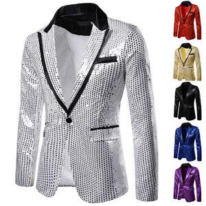 Mens Suit Tuxedo Suit Party Coat Sequins Gentleman Blazer Jacket One Button Suit