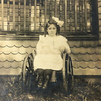 BUFFALO , NY - YOUNG GIRL CHILD in WHEELCHAIR Disabled - 1912 - Antique Photo