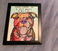 Dean Russo Happiness Is A Pitbull Print 8x10 with Frame Dog Art