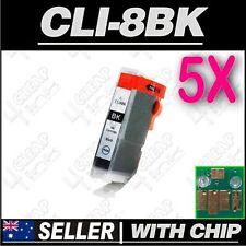 5x Black Ink for Canon CLI-8BK iP5200 iP5200R iP5300 iP6600D iP6700D PRO9000