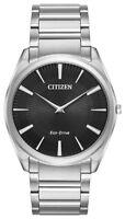 Citizen Eco-Drive Men's Stiletto Black Dial Silver-Tone 38mm Watch AR3070-55E