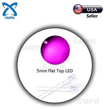100pcs 5mm Flat Top Pink LED Light Emitting Diode Clear Wide Angle Bright Lights