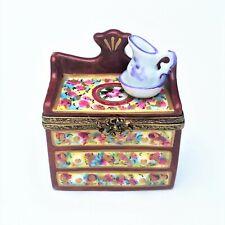 Retired Wash Basin Cabinet Limoges Trinket Box, Hand Painted, Signed