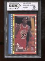 Michael Jordan 1987-88 Fleer Sticker #2 HOF Chicago Bulls GEM Elite 10 Pristine