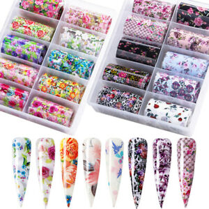10 Rolls Nail Foils Flower Rose Leopard Series Art Transfer Sticker Accessories