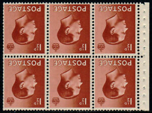 1936 KEVIII 1½d Red-brown Watermark Inverted Booklet Pane (E perf) SG Spec PB3a