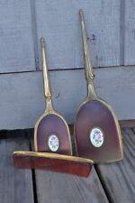 Vintage Vanity Brush, Comb, Hand Mirror 3pc.set Floral Design Brass Set Roses!
