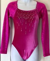 GK ELITE LgSlv ADULT SMALL BERRY VELVET FOIL JA GYMNASTICS DANCE LEOTARD AS NWT!