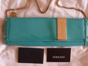STUNNING VERSACE  AQUA PATENT LEATHER GOLD CHAIN CLUTCH SHOULDER BAG Card & Bag