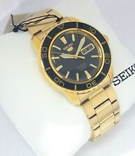SEIKO 5 Automatic Sports Gold Tone SNZH60K1 Black dial 23 Jewels 100m CAL 7S36