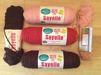 Vintage Sayelle Yarn - LOT OF 3 FULL SKEINS + 2 Partial! 1970's Orlon Acrylic!!