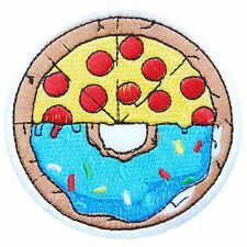 Doughnut Pizza Donut Tomato Food Sweet Chocolate Sausage Iron on Patches #1669