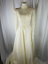 Vintage House of Bianchi Bride Wedding Dress XS S Silk Victorian 60s 70s pearl