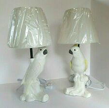 Pair Of Cockatoo/Parrot Lamps NWT Linen Shades