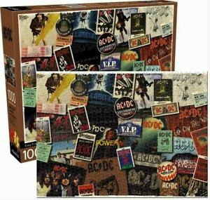 1000 piece Retro AC/DC - ALBUM Cover Collage Puzzle Licensed by AQUARIUS