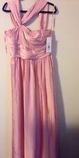 ML Monique Lhuillier Bridesmaids Twist Shoulder Satin Chiffon Dress Blush, Sz 16