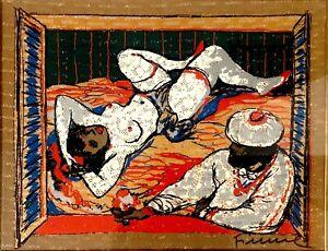 Salvatore Fiume,Odalisca,serigrafia,44x35,5 cm, autentica