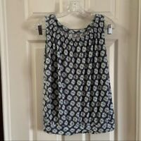 Loft Women's Blue Floral Print Scoop Neck Sleeveless Top size Medium